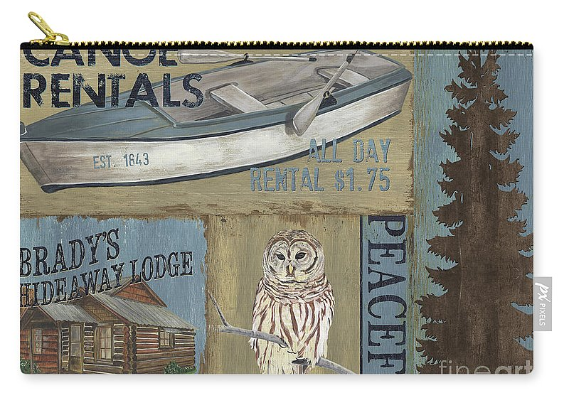 Lodge Carry-all Pouch featuring the painting Canoe Rentals Lodge by Debbie DeWitt