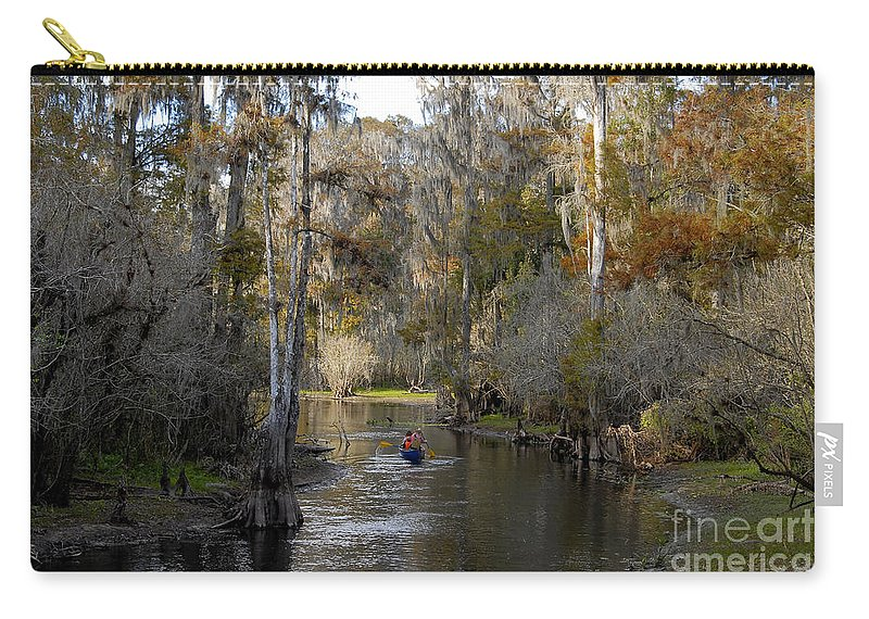 Family Carry-all Pouch featuring the photograph Canoeing In Florida by David Lee Thompson