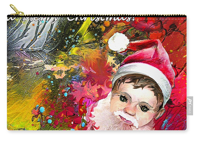 Santa Baby Painting Carry-all Pouch featuring the painting Cant stop now by Miki De Goodaboom