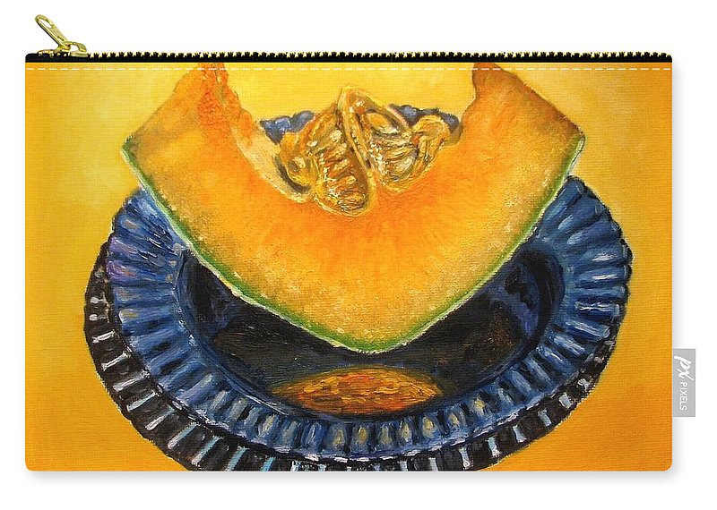 Cantaloupe Carry-all Pouch featuring the painting Cantaloupe Oil Painting by Natalja Picugina