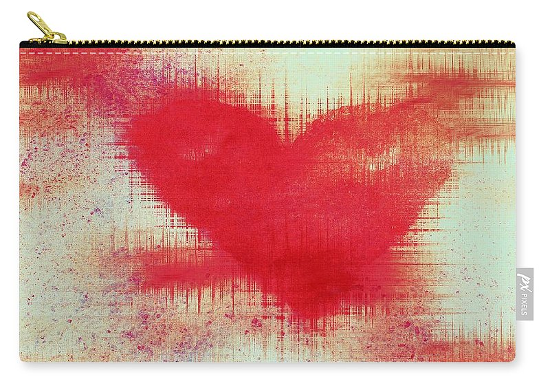 Hearts Carry-all Pouch featuring the digital art Canvas Heart by Linda Sannuti