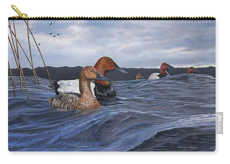 Ducks Carry-all Pouch featuring the painting Canvasbacks by Anthony J Padgett