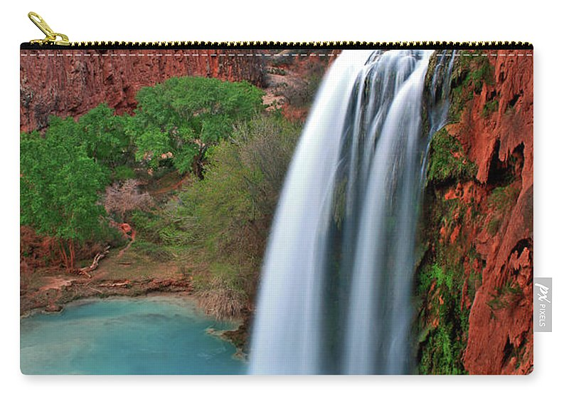Waterfall Carry-all Pouch featuring the photograph Canyon Falls Vertical by Scott Mahon