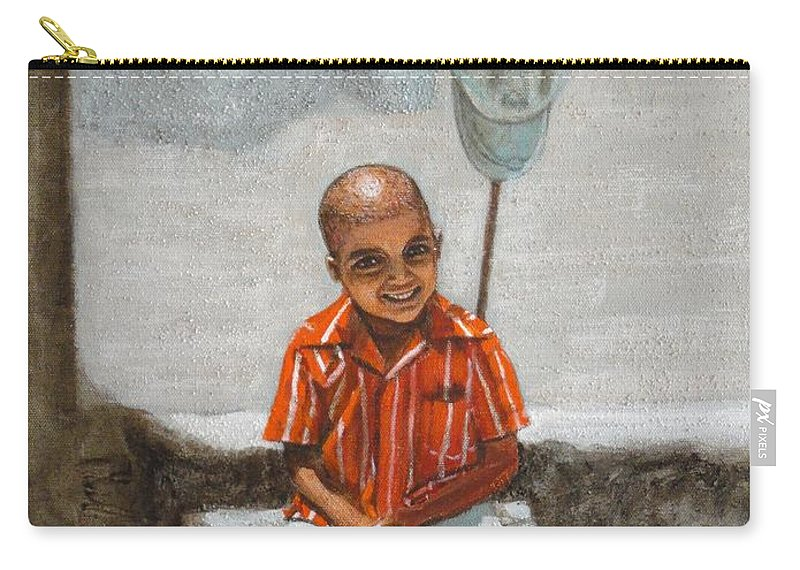 Cap Carry-all Pouch featuring the painting Cap Off by Usha Shantharam