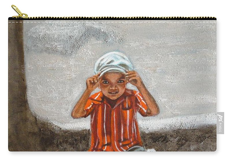 Cap Carry-all Pouch featuring the painting Cap On by Usha Shantharam