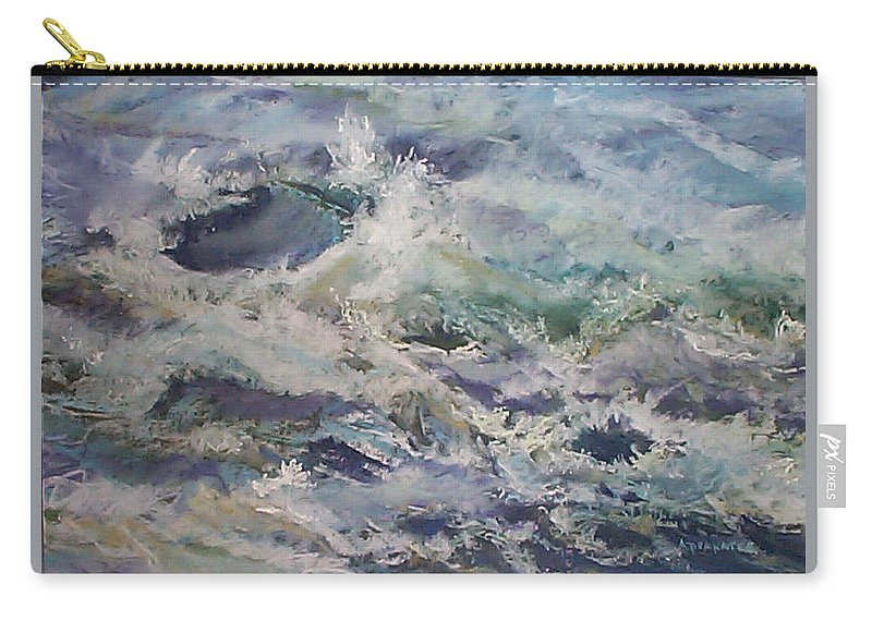 Marine Study Carry-all Pouch featuring the pastel Cape Elizabeth Wave Breaks by Alicia Drakiotes
