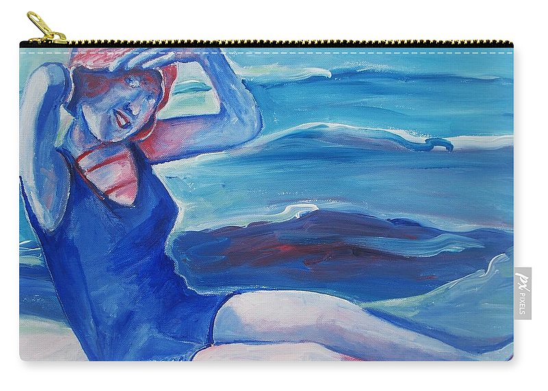 Beach Carry-all Pouch featuring the painting Cape May 1920s Girl by Eric Schiabor