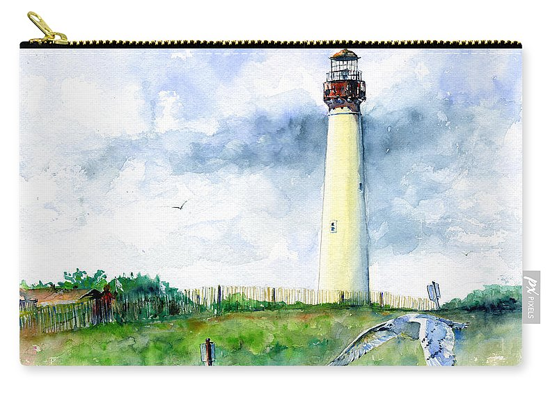 Lighthouse Carry-all Pouch featuring the painting Cape May Lighthouse by John D Benson