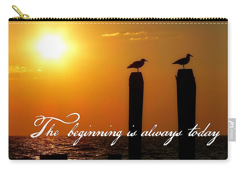 Sunrise Carry-all Pouch featuring the photograph Cape May Morning Quote by JAMART Photography