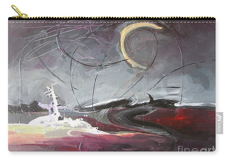 Abstract Paintings Carry-all Pouch featuring the painting Cape St. Mary by Seon-Jeong Kim