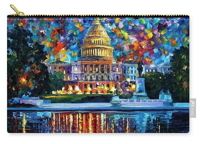 Afremov Carry-all Pouch featuring the painting Capital At Night - Washington by Leonid Afremov