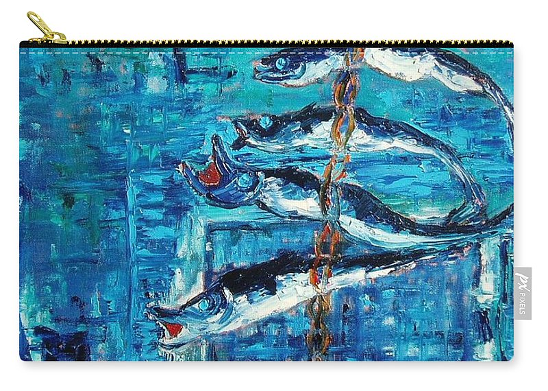 Fish Painting Carry-all Pouch featuring the painting Caplin by Seon-Jeong Kim