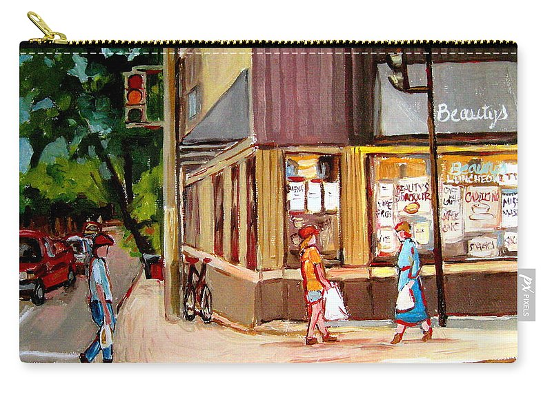 Cafes Carry-all Pouch featuring the painting Cappucino Cafe At Beauty's Restaurant by Carole Spandau