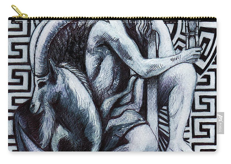 Elemental Carry-all Pouch featuring the painting Capricorn / Zodiac / Saturn by Stephen Humphries
