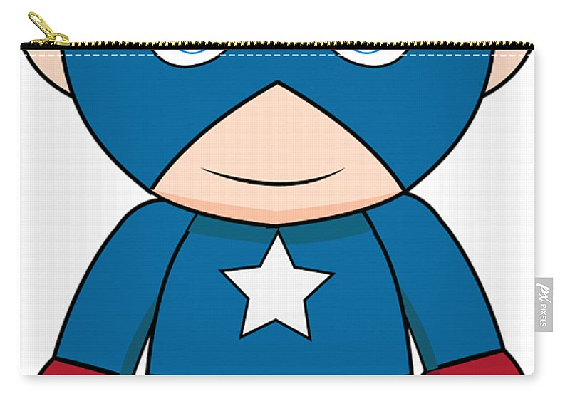 Cartoon Carry-all Pouch featuring the digital art Captain America by Anoop D Kulkarni