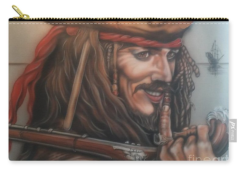 Captain Jack Sparrow Carry-all Pouch featuring the painting Captain Jack by Daniel Livingston
