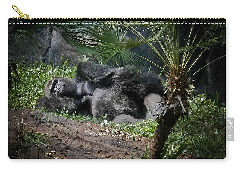 Gorilla Carry-all Pouch featuring the digital art Captivity Is Heartbreaking by DigiArt Diaries by Vicky B Fuller