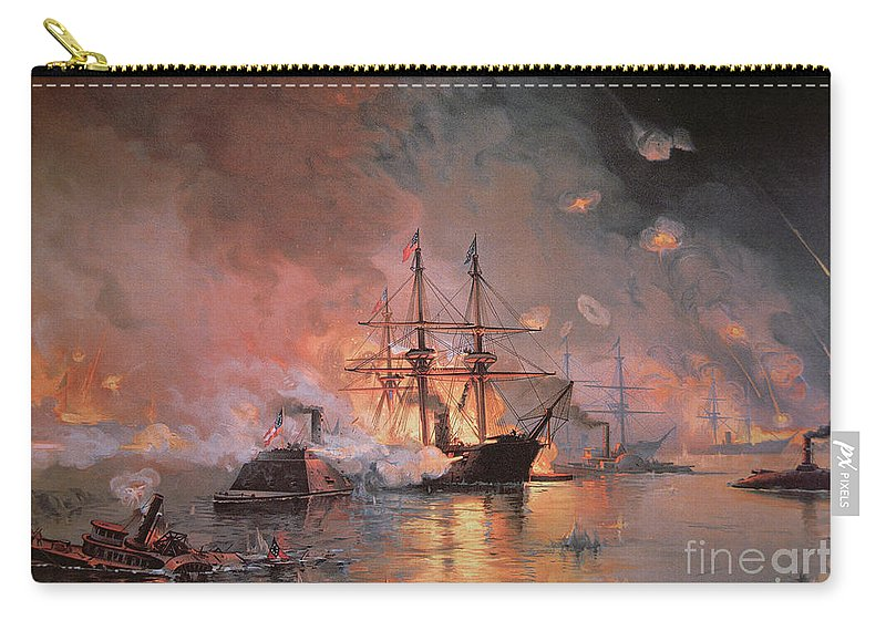 Capture Of New Orleans By Union Flag Officer David G. Farragut Carry-all Pouch featuring the painting Capture Of New Orleans By Union Flag Officer David G Farragut by Julian Oliver Davidson