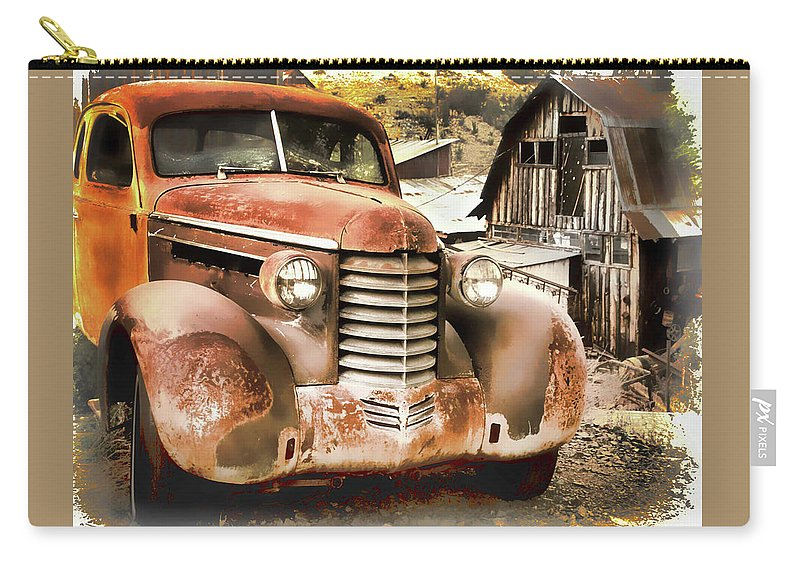 Old Cars Carry-all Pouch featuring the photograph Car Full Of Memories, Ghost Town, Jerome, Arizona by Lila Bahl