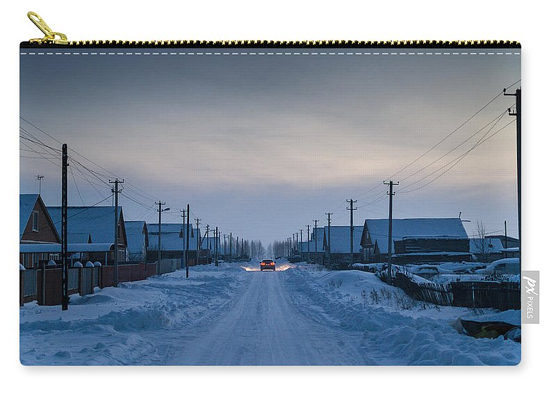 Snow Carry-all Pouch featuring the photograph The Road Away From Here by John Williams