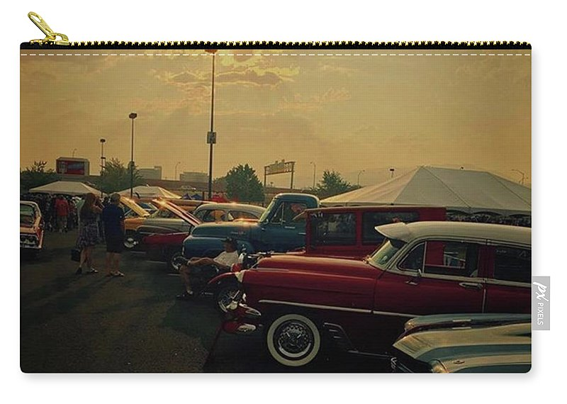Sunset Carry-all Pouch featuring the photograph Car Show In Reno Nevada. #cars by Jen Lynn Arnold