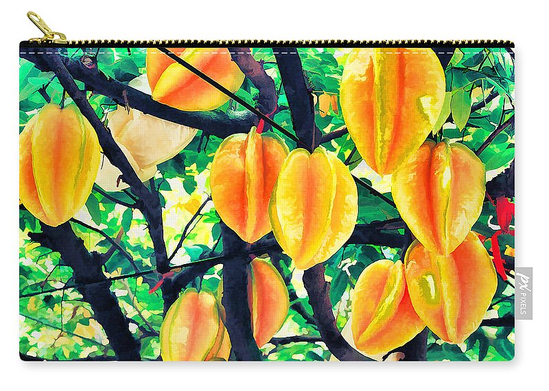 Carambola Carry-all Pouch featuring the painting Carambolas Starfruits by Jeelan Clark