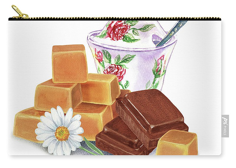 Chocolate And Caramel Two Guilty Pleasures Carry-all Pouch featuring the painting Caramel Chocolate by Irina Sztukowski