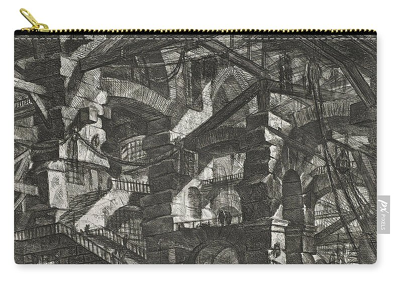 18th Century Art Carry-all Pouch featuring the relief Carceri Series, Plate Xiv by Giovanni Battista Piranesi