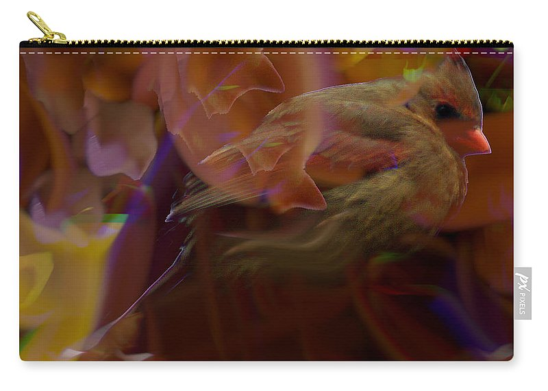 Jenny Gandert Carry-all Pouch featuring the digital art Cardinal And Abstract by Jenny Gandert