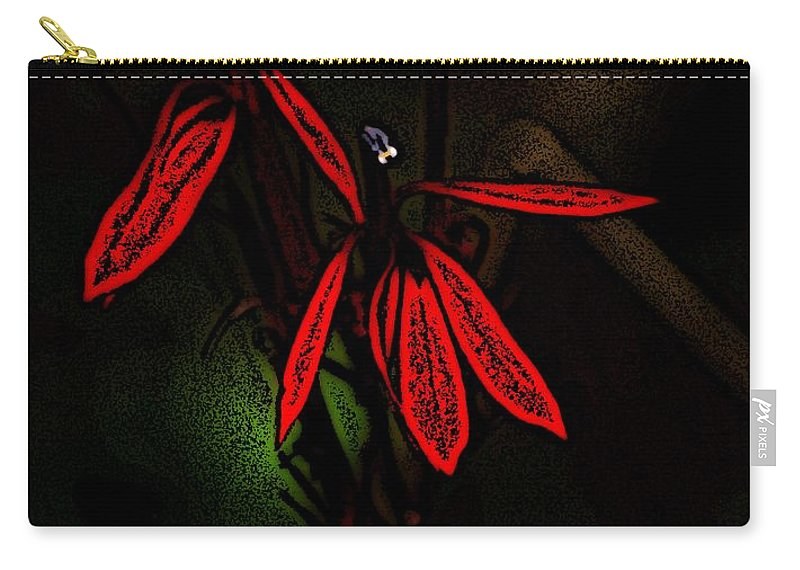 Digital Photograph Carry-all Pouch featuring the photograph Cardinal Plant Woodcut by David Lane