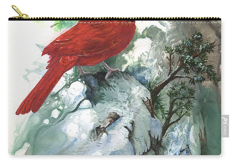 Bird Carry-all Pouch featuring the painting Cardinal by Sherry Shipley