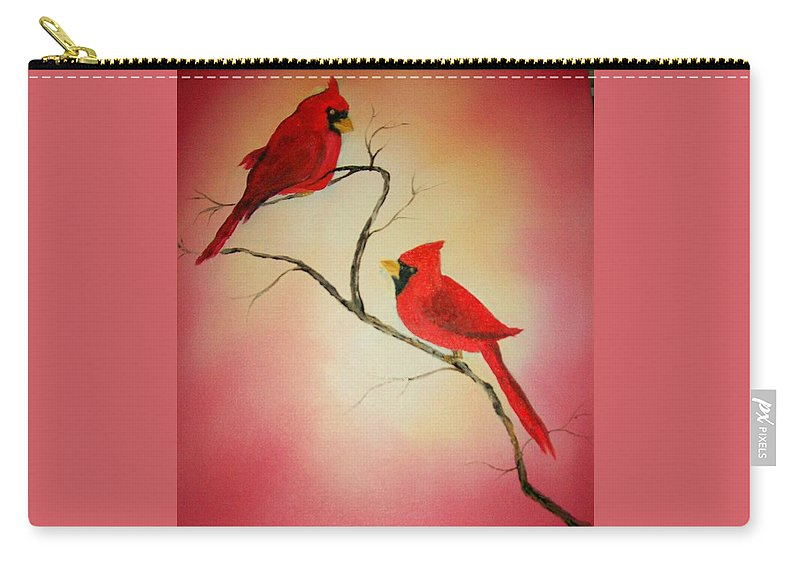 Cardinals Carry-all Pouch featuring the painting Cardinals At Sunset by Leo Gordon