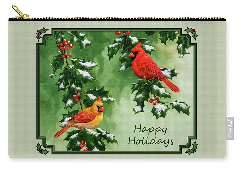 Birds Carry-all Pouch featuring the painting Cardinals Holiday Card - Version With Snow by Crista Forest