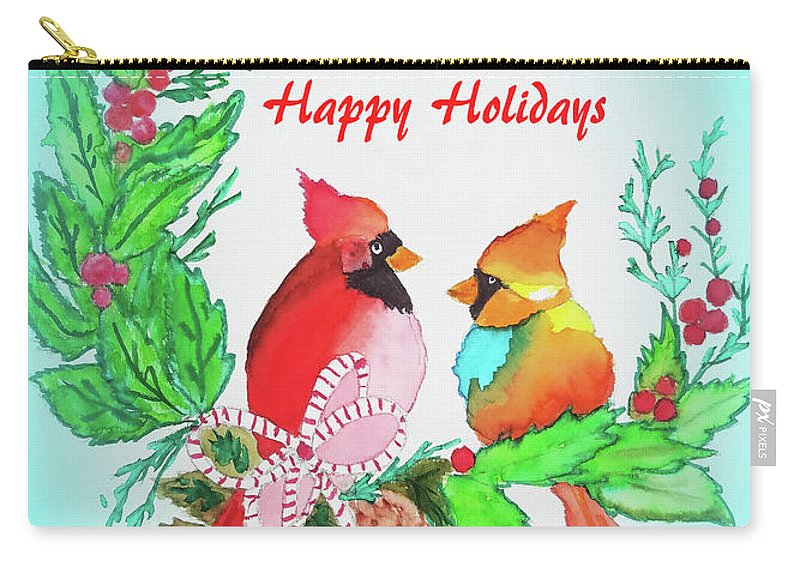 Carry-all Pouch featuring the painting Cardinals Painted By Judith Brilhamte by Judith Brilhamte