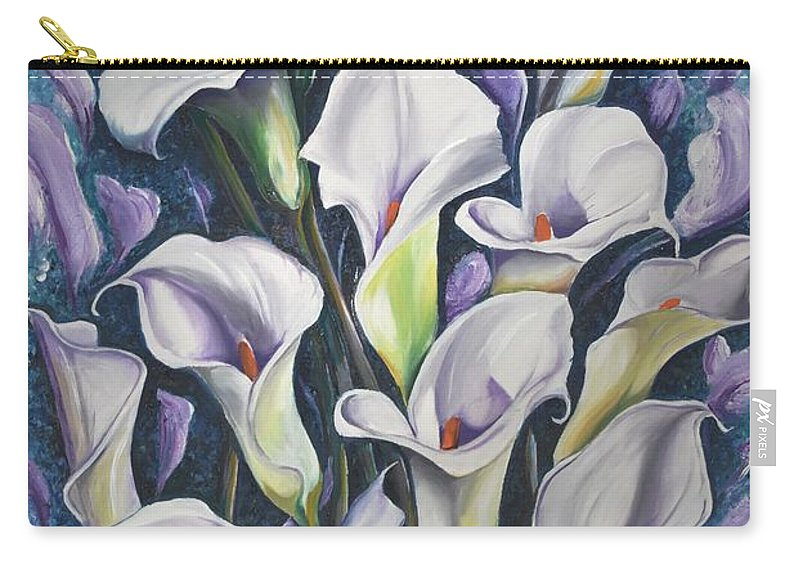 Caribbean Carry-all Pouch featuring the painting Caribbean Callas by Karin Dawn Kelshall- Best