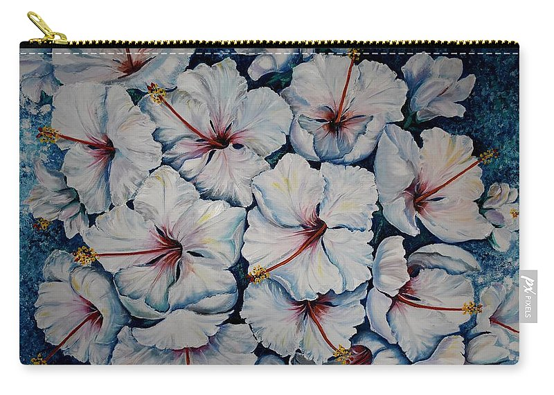 White Hibiscus Carry-all Pouch featuring the painting Caribbean Hibiscus by Karin Dawn Kelshall- Best