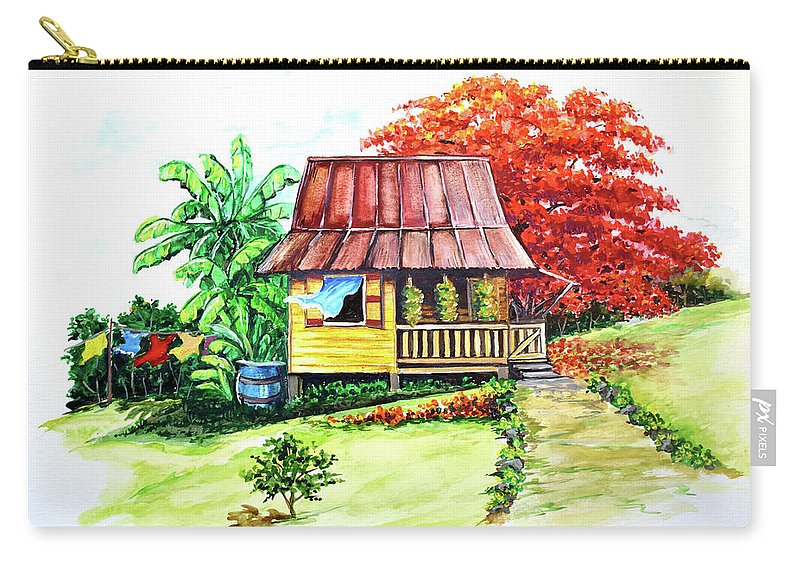 Old House Carry-all Pouch featuring the painting Caribbean House On The Hill by Karin Dawn Kelshall- Best