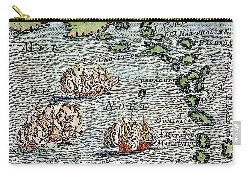 1688 Carry-all Pouch featuring the photograph Caribbean Map by Granger