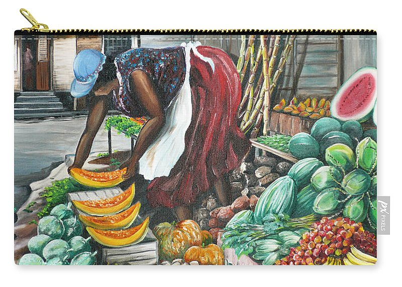 Caribbean Painting Market Vendor Painting Caribbean Market Painting Fruit Painting Vegetable Painting Woman Painting Tropical Painting City Scape Trinidad And Tobago Painting Typical Roadside Market Vendor In Trinidad Carry-all Pouch featuring the painting Caribbean Market Day by Karin Dawn Kelshall- Best