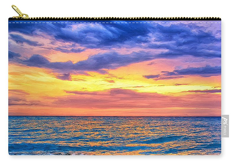 Caribbean Carry-all Pouch featuring the painting Caribbean Sunset by Dominic Piperata