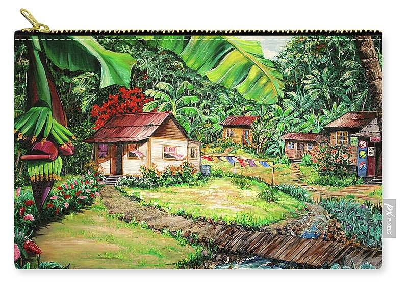 Tropical Carry-all Pouch featuring the painting Caribbean Village Life by Karin Dawn Kelshall- Best