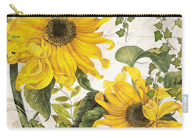 Sunflower Carry-all Pouch featuring the painting Carina Sunflowers by Mindy Sommers