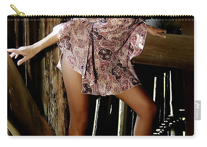 Clay Carry-all Pouch featuring the photograph Carla's In The Barn Again by Clayton Bruster