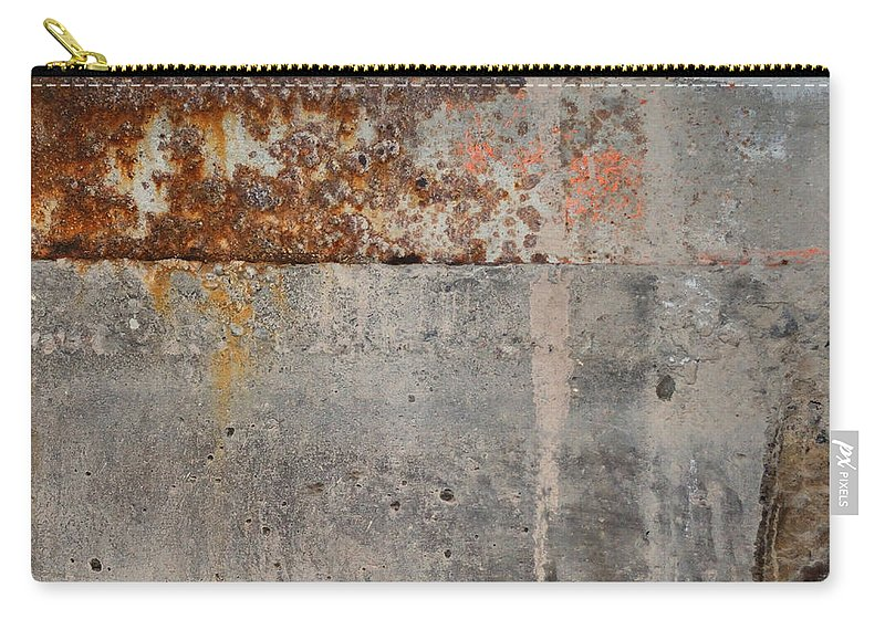 Concrete Carry-all Pouch featuring the photograph Carlton 16 Concrete Mortar And Rust by Tim Nyberg