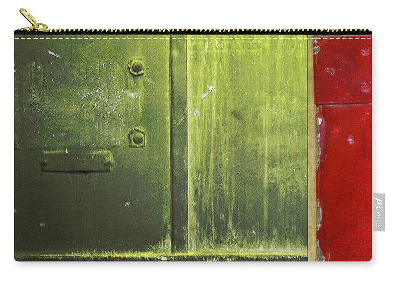 Metal Carry-all Pouch featuring the photograph Carlton 6 - Firedoor Abstract by Tim Nyberg