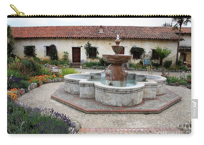 Catholic Carry-all Pouch featuring the photograph Carmel Mission Courtyard by Carol Groenen