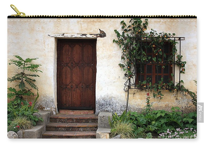 Carmel Mission Carry-all Pouch featuring the photograph Carmel Mission Door by Carol Groenen