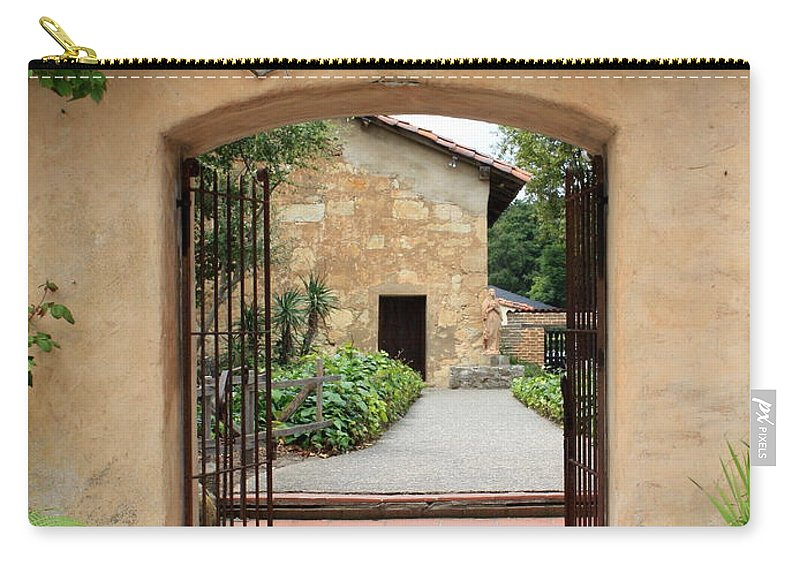 Carmel Mission Carry-all Pouch featuring the photograph Carmel Mission Path by Carol Groenen
