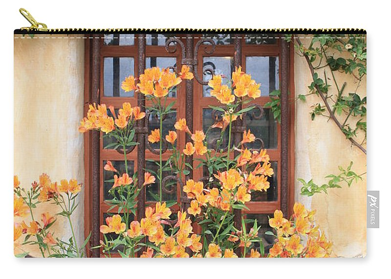 Alstroemeria Carry-all Pouch featuring the photograph Carmel Mission Window by Carol Groenen