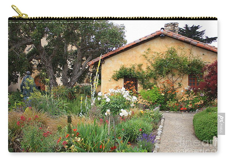 Carmel Carry-all Pouch featuring the photograph Carmel Mission With Path by Carol Groenen